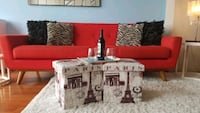 Modern Retro Red Couch with Ottomans Washington