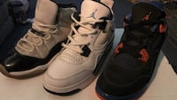 three assorted color Air Jordan basketball shoes