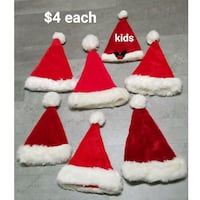 Santa hats $4 each, 1 elf hat Roy