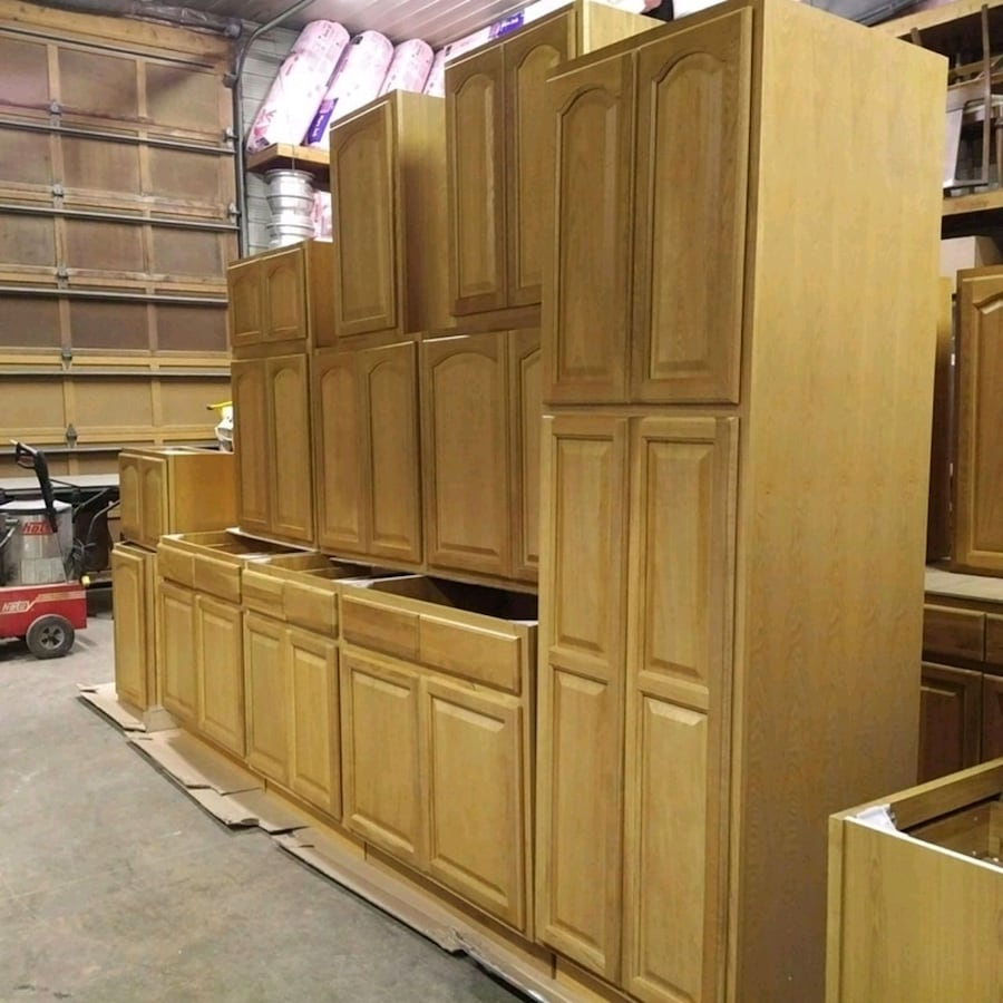 """BRAND NEW"" never used 29 piece premium quality Oak Cupboards"