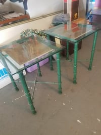 2 Metal wrought iron glass  End tables glass top