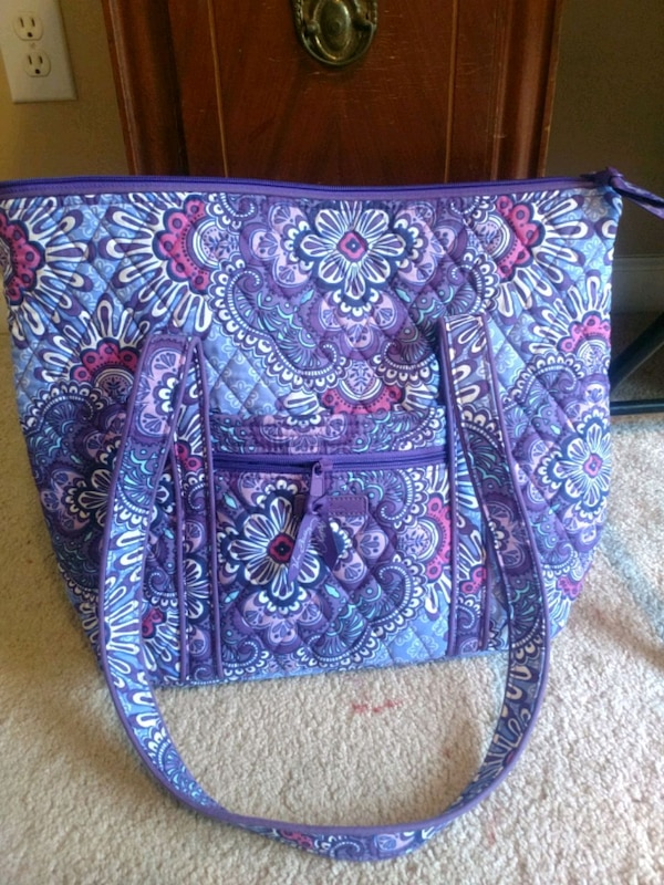 blue and pink floral Vera Bradley tote bag