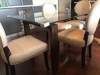 Beautiful glass table with wood frame 5'4 by 3'2  *Chairs NOT included Toronto, M1N 1N3