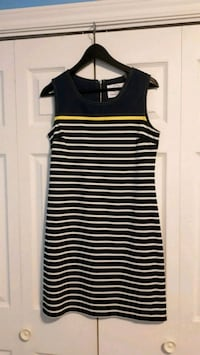 Casual Stripe Shift Dress with Denim detailing