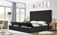 New in box black queen velvet bed frame with storage College Park
