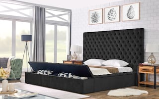 New in box black queen velvet bed frame with storage