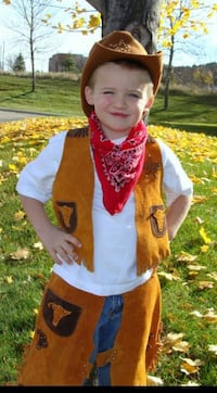 Cowboy costume approx size 4T - real leather 899 mi