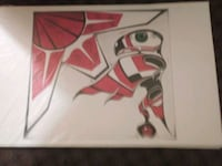 white and red abstract painting Prince George, V2L 3M6