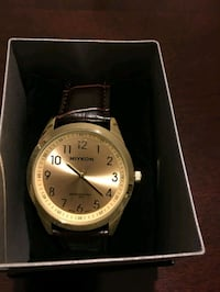 Goldtone Analog Watch Brown Leather Strap