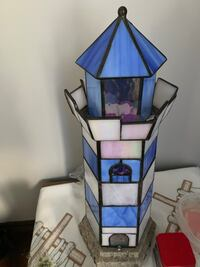 Brown and blue stained glass pendant lamp Charleston, 25302