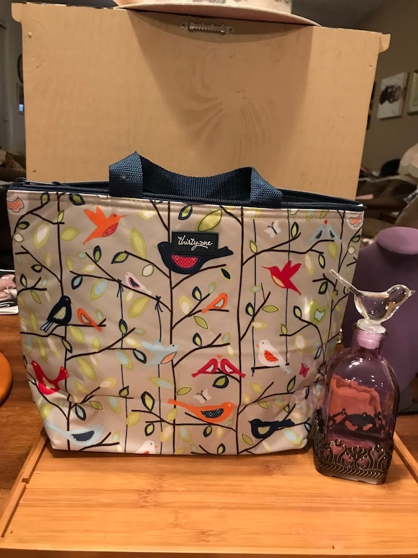 Nice Insulated Lunch Bag With Pretty Bird Print