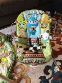 Woodland animals baby bouncy chair. play gym. toys.