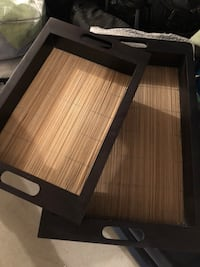 Stackable wood trays