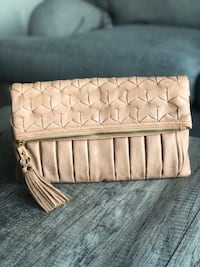 Salmon Faux Leather Foldover Clutch Somerville, 02145