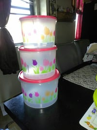 three multicolored floral plastic food containers Santa Ana, 92701