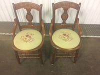 two brown wooden framed white padded chairs Chicago, 60601