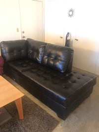 tufted black leather sectional sofa 2333 mi