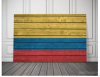 Colombian Flag Canvas Rustic Faux Wood Wall Art (Colombia) University Park, 20782