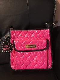 Betsey Johnson black red and pink crossbody bag