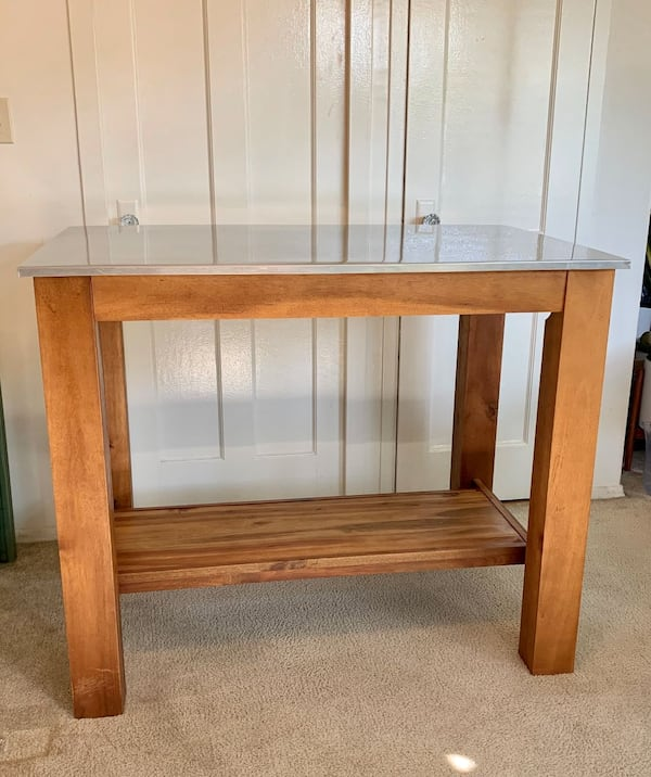 West Elm Rustic Wood Table with Stainless Steel Top 6d90c6c8-4be4-4eed-b8a2-7167ca366a33