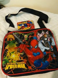 black, red, and yellow Spider-Man printed crossbody bag