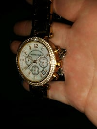 round gold-colored chronograph watch with link bracelet Fresno, 93706