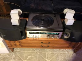 Vintage receiver, turntable, 2 sets of speakers and subwoofer