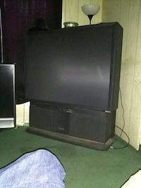 black flat screen TV with black wooden TV stand Belvedere, 29841
