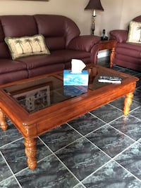 Brown wooden framed glass top coffee table Vaughan, L6A 2P8