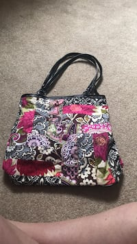 black, white, and red floral tote bag Clifton Park, 12065