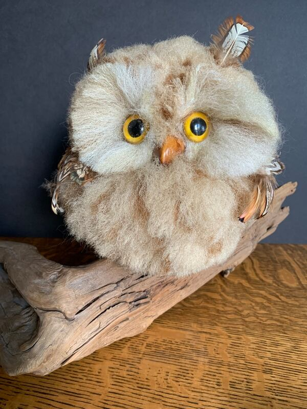 Vintage Faux Owl Perched on Driftwood Mid-Century Kitschy Home Decor c490cf7f-ed6d-45ec-8081-a34c39230960
