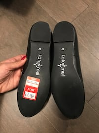 Kate & Mel Black Leather Flats - Brand New S:7