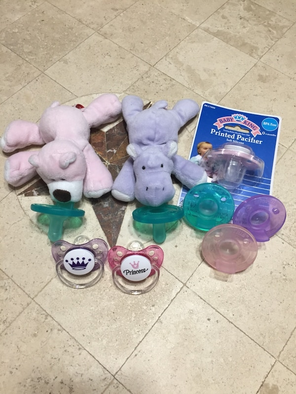 096d37a10 Used Pink Bear   Purple Hippo Pacifier Lot for sale in Prosper - letgo