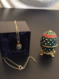"""Jeweled Russian Egg """"box"""" w/stand & Necklace set"""