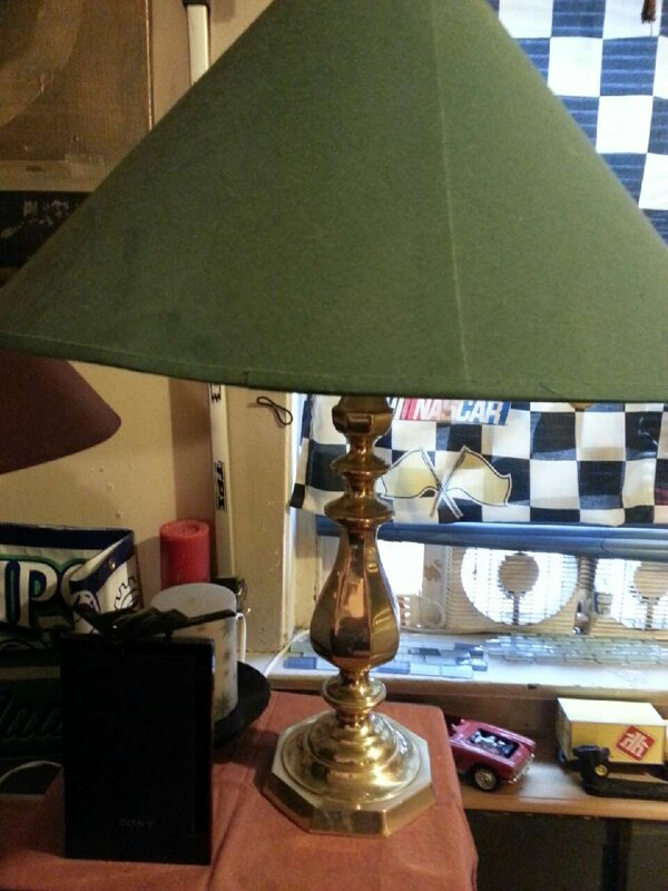 gold wooden base with green shade table lamp