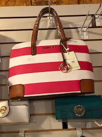 white and red leather tote bag Wetumpka, 36093