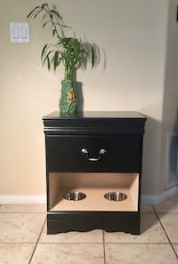 Black wooden 2-drawer nightstand/Accent table with built in feeder for pets Carlsbad, 92009