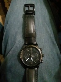 round black chronograph watch with black leather s Columbus, 43223