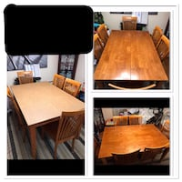 Dining Room Table with built in leaf and 6 Chairs and protective pad cover. Lorton