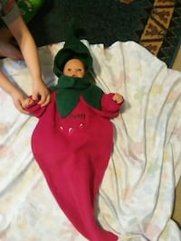 A red-hot pepper baby costume