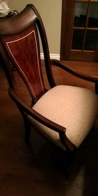 brown wooden framed beige padded armchair Mississauga, L5N 6A9
