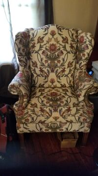 brown and green floral fabric sofa chair Sparks Glencoe, 21152