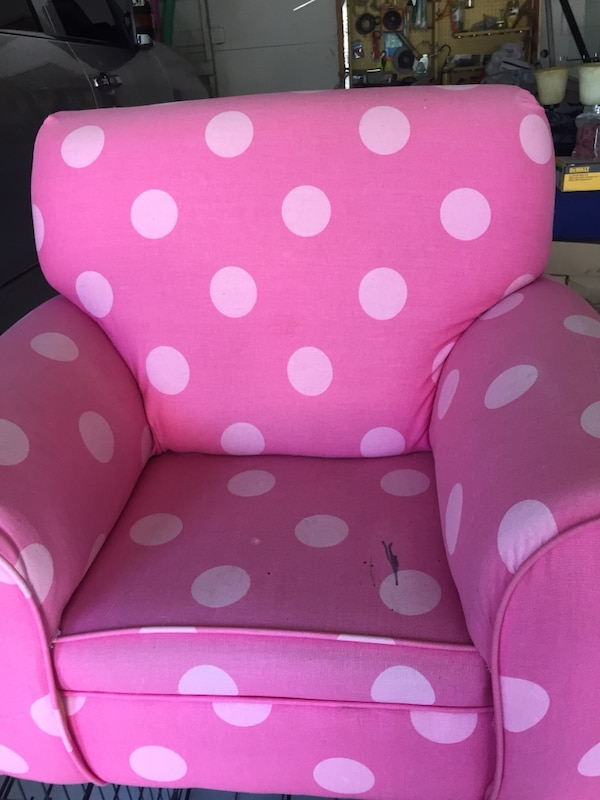 Pink And White Polka Dot Sofa Chair