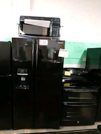 3PC. BLACK PACKAGE,  FRIDGE ,STOVE AND NEW OVER THE RANGE MICROWAVE