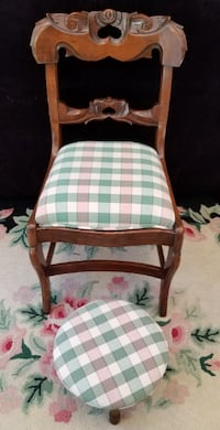 Mid 19th Century Victorian Rose-Carved Side Chair + Modern Stool  Lakewood