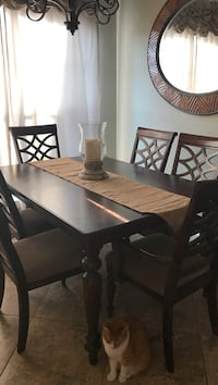 Rectangular brown wooden table with six chairs dining set Blanchard, 71107