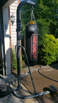 Century punching bag, stand and gloves