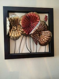 gold-colored metal artificial flower decor with black wooden shadowbox Killeen