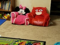 two pink-and-white and red Minnie Mouse and PJ Mas