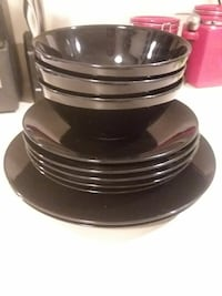 black ceramic bowl, saucer, and plate lot